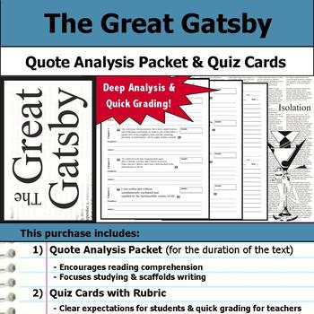 The Great Gatsby - Quote Analysis & Reading Quizzes