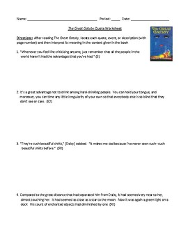 The Great Gatsby Quote Interpretation Worksheet and Detailed Answer Key