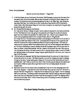The Great Gatsby Reading Journal
