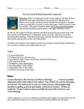 The Great Gatsby Reading Preparation Homework Assignment
