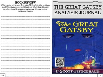 """The Great Gatsby"" Reading Analysis Journal"