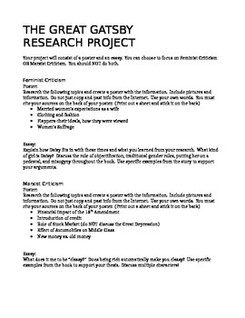 The great gatsby research project and essay prompts by meghan palmer