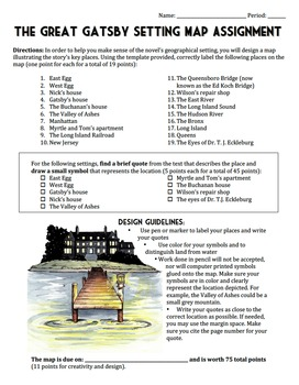 The Great Gatsby Setting Map Project - Includes Worksheet, Template & Samples!
