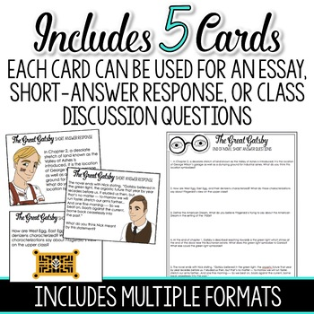 The Great Gatsby Short Response Questions and Task Cards