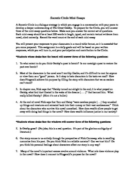 """""""The Great Gatsby"""" Socratic Circle prompt, questions, and rubric"""