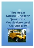 The Great Gatsby Study questions, Vocabulary and Answer Key