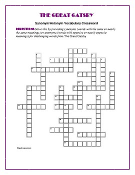 The Great Gatsby: Synonym/Antonym Crossword—Use with Bookmarks Plus!
