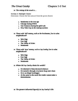 The Great Gatsby Test Chapters 1-5 and Answer Key
