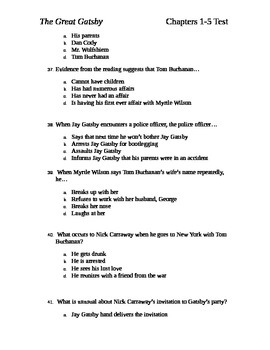 The Great Gatsby Test Chapters 1-5 and Answer Key by Aubrey Barchiesi b406ac54338