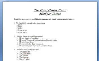 The Great Gatsby - Test and SMARTBoard Review Game