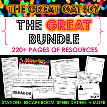 The Great Gatsby Unit - The GREAT Bundle - 200+ pages + ESCAPE ROOM BONUS!