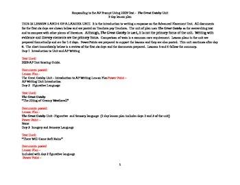 the great gatsby unit 2009 responding to ap prompt lesson plan rh teacherspayteachers com Advanced Placement Economics Advanced Placement Strategies