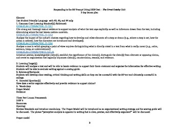 The Great Gatsby Unit - 2009 Responding to AP Prompt lesson plan