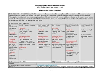 The Great Gatsby Unit - Diction Lesson Plan