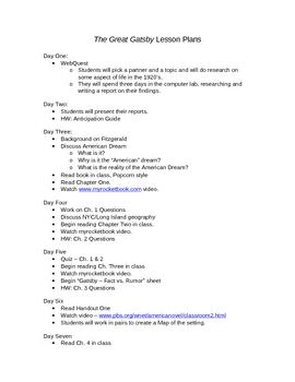 The Great Gatsby Unit Lesson Plans