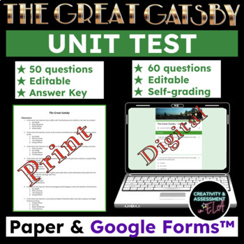 The Great Gatsby - Unit Test w/ Answer Key - 50 Questions