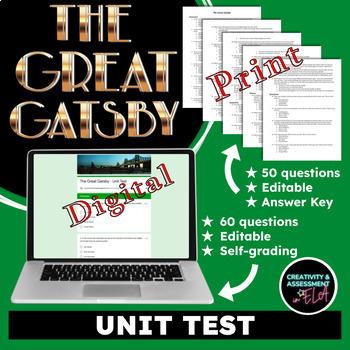The Great Gatsby - Unit Test w/ Answer Key