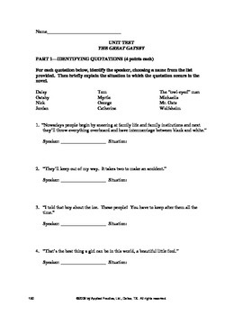 The Great Gatsby Unit Test and Vocabulary Quizzes by Applied Practice