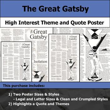 The Great Gatsby - Visual Theme and Quote Poster for Bulletin Boards