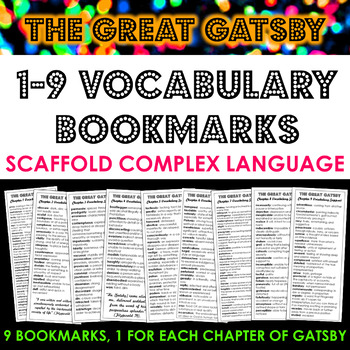 The Great Gatsby Vocabulary Bookmarks: Scaffold Language & Comprehension!