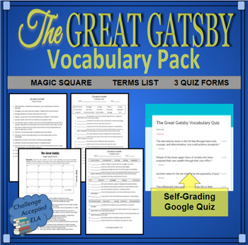The Great Gatsby Vocabulary Pack (Self-Grading Quiz and Magic Square Intro)