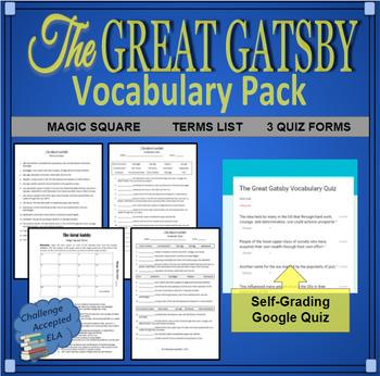 The Great Gatsby Vocabulary Magic Square