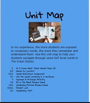 The Great Gatsby Vocabulary Unit