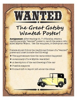 The Great Gatsby Wanted Poster