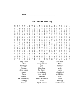 The Great Gatsby Word Search