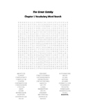 The Great Gatsby Word Search Packet (Ch. 1-9) - Fitzgerald