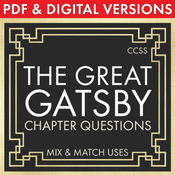 Great Gatsby, Worksheets Quizzes HW Discussion for Fitzgerald's Novel, CCSS
