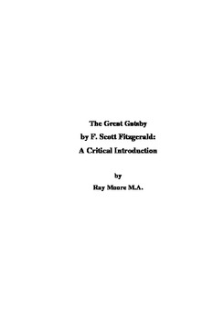 """""""The Great Gatsby"""" by F. Scott Fitzgerald: A Critical Introduction"""