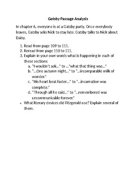 The Great Gatsby by F. Scott Fitzgerald Passage Analysis Chapter 6