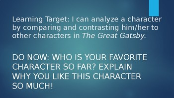 The Great Gatsby character Meet and Greet Lesson