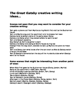 The Great Gatsby final assessment: creative character writing