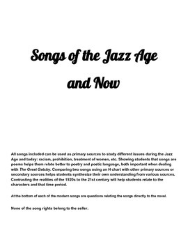 The Great Gatsby song analysis- Jazz Age and present eras