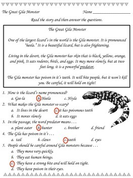 The Great Gila Monster - Reading Passage - Practice Worksheet