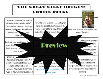 The Great Gilly Hopkins Choice Board Novel Study Activities Menu Book Project