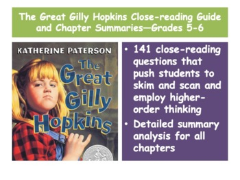 The great gilly hopkins teaching resources teachers pay teachers the great gilly hopkins close reading guide and chapter summariesgrades 5 and 6 fandeluxe Images