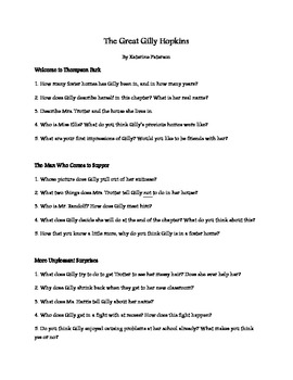 Great gilly hopkins chapter questions teaching resources teachers the great gilly hopkins literature guide questions fandeluxe Choice Image