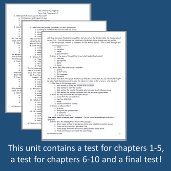 The Great Gilly Hopkins Novel Unit ~ Activities, Handouts, Tests!
