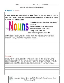 The Great Gilly Hopkins Unit with Literary and Grammar Activities