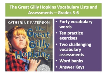 The Great Gilly Hopkins Vocabulary Lists and Assessments—Grades 5-6