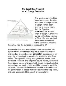 The Great Giza Pyramid as an Energy Generator Common Core Activities