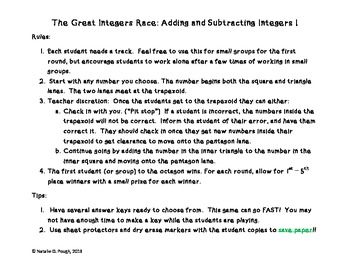 The Great Integer Race: Adding and Subtracting Integers Edition I