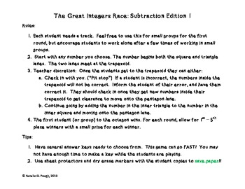 The Great Integer Race: Subtracting Integers Edition 1