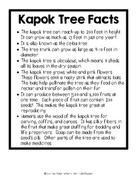 The Great Kapok Tree - Science Lessons/Activities in the Rain Forest