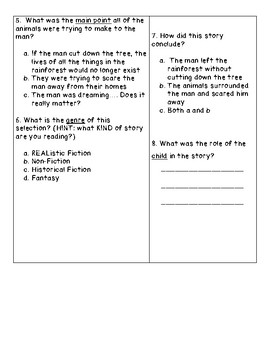 The Great Kapok Tree Reading Comprehension Test