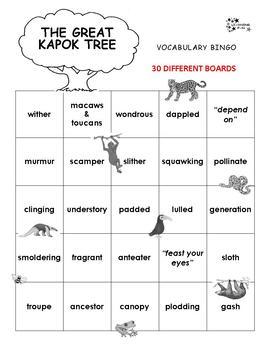 The Great Kapok Tree Vocabulary Bingo