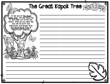The Great Kapok Tree by Lynn Cherry Opinion Writing Task